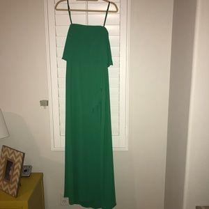 BCBG maxi dress with ruffle slit, size 6